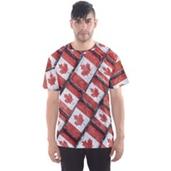 Canadian Flag Motif Pattern Men s Sports Mesh Tee