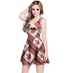Canadian Flag Motif Pattern Reversible Sleeveless Dress