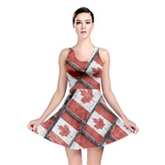 Canadian Flag Motif Pattern Reversible Skater Dress