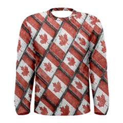 Canadian Flag Motif Pattern Men s Long Sleeve Tee