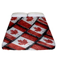 Canadian Flag Motif Pattern Fitted Sheet (queen Size)