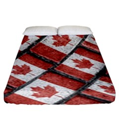Canadian Flag Motif Pattern Fitted Sheet (king Size)