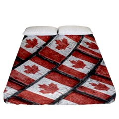 Canadian Flag Motif Pattern Fitted Sheet (california King Size)