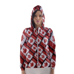 Canadian Flag Motif Pattern Hooded Wind Breaker (women)