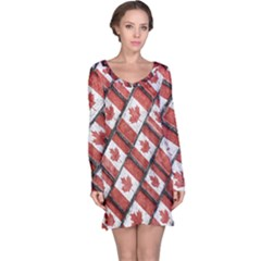 Canadian Flag Motif Pattern Long Sleeve Nightdress