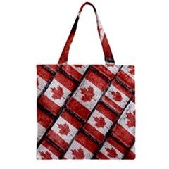 Canadian Flag Motif Pattern Zipper Grocery Tote Bag