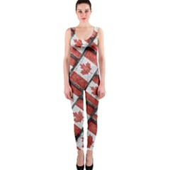 Canadian Flag Motif Pattern Onepiece Catsuit