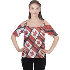 Canadian Flag Motif Pattern Cutout Shoulder Tee
