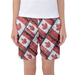 Canadian Flag Motif Pattern Women s Basketball Shorts