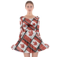Canadian Flag Motif Pattern Long Sleeve Skater Dress