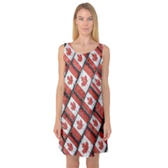 Canadian Flag Motif Pattern Sleeveless Satin Nightdress