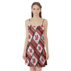 Canadian Flag Motif Pattern Satin Night Slip