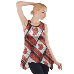 Canadian Flag Motif Pattern Side Drop Tank Tunic
