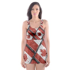 Canadian Flag Motif Pattern Skater Dress Swimsuit