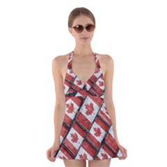 Canadian Flag Motif Pattern Halter Dress Swimsuit