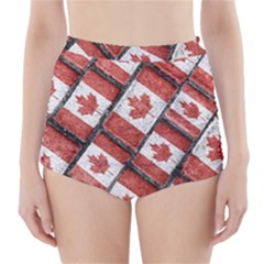 Canadian Flag Motif Pattern High Waisted Bikini Bottoms