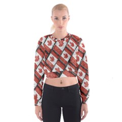 Canadian Flag Motif Pattern Cropped Sweatshirt