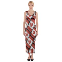 Canadian Flag Motif Pattern Fitted Maxi Dress