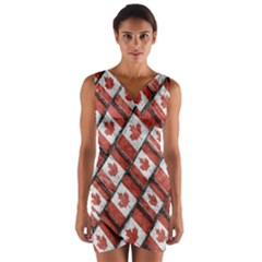 Canadian Flag Motif Pattern Wrap Front Bodycon Dress