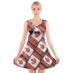 Canadian Flag Motif Pattern V Neck Sleeveless Skater Dress