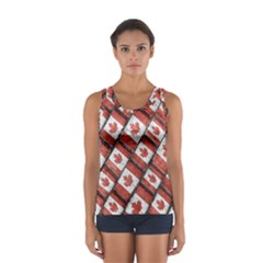 Canadian Flag Motif Pattern Sport Tank Top