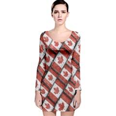Canadian Flag Motif Pattern Long Sleeve Velvet Bodycon Dress