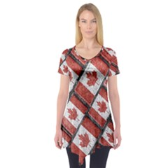 Canadian Flag Motif Pattern Short Sleeve Tunic