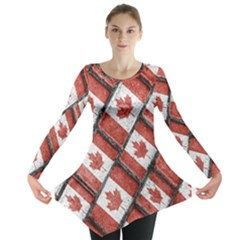Canadian Flag Motif Pattern Long Sleeve Tunic