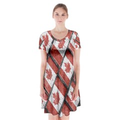 Canadian Flag Motif Pattern Short Sleeve V Neck Flare Dress