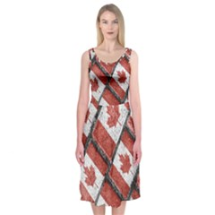 Canadian Flag Motif Pattern Midi Sleeveless Dress