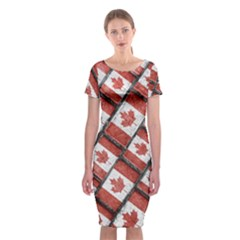 Canadian Flag Motif Pattern Classic Short Sleeve Midi Dress