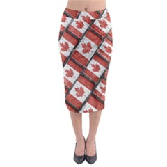 Canadian Flag Motif Pattern Midi Pencil Skirt