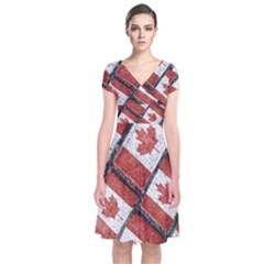 Canadian Flag Motif Pattern Short Sleeve Front Wrap Dress