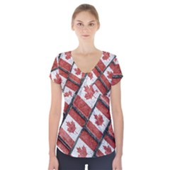 Canadian Flag Motif Pattern Short Sleeve Front Detail Top