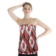 Canadian Flag Motif Pattern Strapless Top