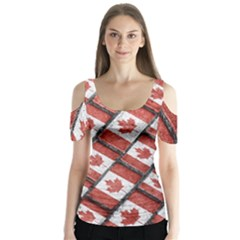 Canadian Flag Motif Pattern Butterfly Sleeve Cutout Tee