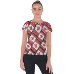 Canadian Flag Motif Pattern Short Sleeve Sports Top