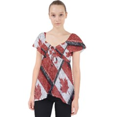 Canadian Flag Motif Pattern Lace Front Dolly Top