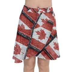 Canadian Flag Motif Pattern Chiffon Wrap