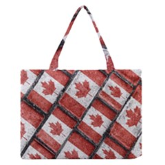 Canadian Flag Motif Pattern Zipper Medium Tote Bag