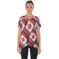 Canadian Flag Motif Pattern Cut Out Side Drop Tee