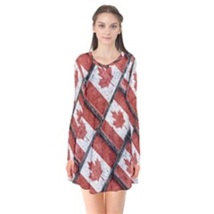 Canadian Flag Motif Pattern Flare Dress