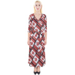 Canadian Flag Motif Pattern Quarter Sleeve Wrap Maxi Dress