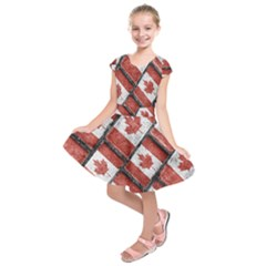 Canadian Flag Motif Pattern Kids  Short Sleeve Dress