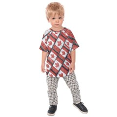 Canadian Flag Motif Pattern Kids Raglan Tee