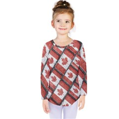 Canadian Flag Motif Pattern Kids  Long Sleeve Tee