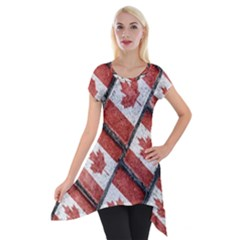 Canadian Flag Motif Pattern Short Sleeve Side Drop Tunic