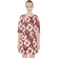 Canadian Flag Motif Pattern Pocket Dress