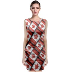 Canadian Flag Motif Pattern Sleeveless Velvet Midi Dress