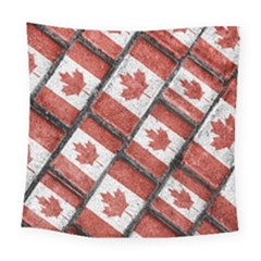 Canadian Flag Motif Pattern Square Tapestry (large)